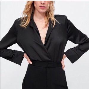 Zara - Satin Tuxedo Bodysuit - Sz. S